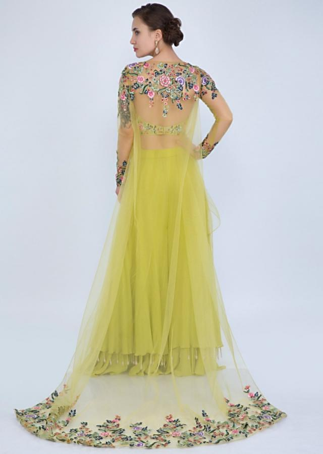 Citrus Green Layered Palazzo With Strapless Bustier And Long Embroidered Net Cape Online - Kalki Fashion