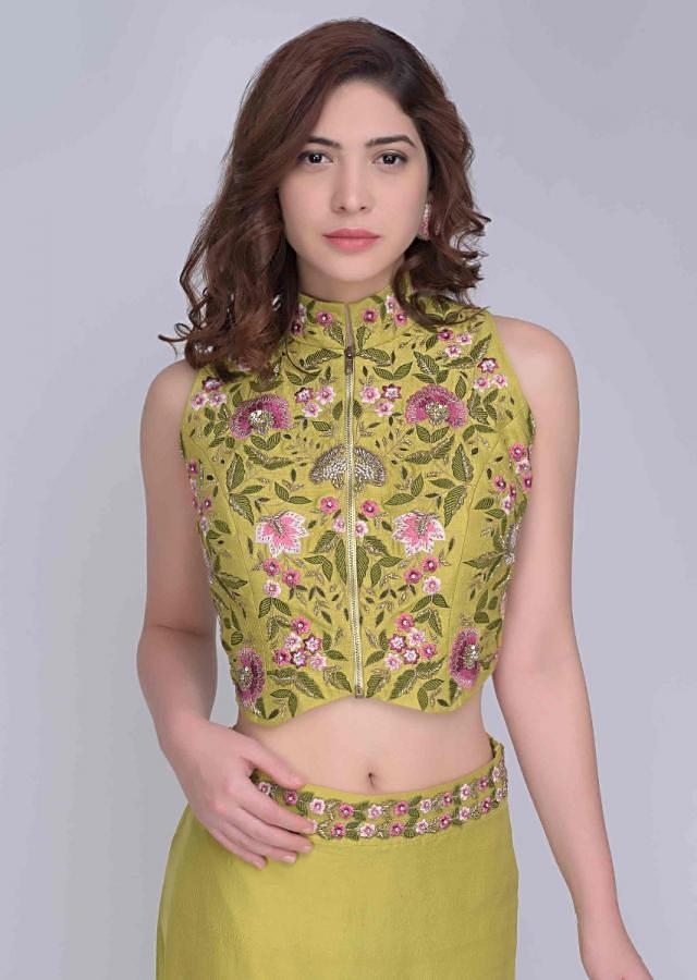 Citrus Green Halter Neck Crop Top And Cowl Draped Skirt With A Matching Net Jacket Online - Kalki Fashion