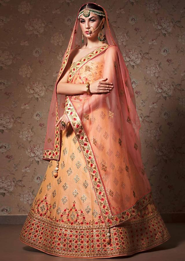 Citrus yellow lehenga with unstitched blouse in gotta patch and zari embroidery
