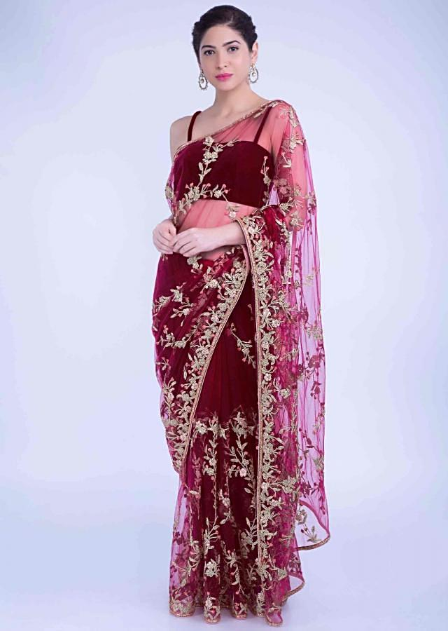 Claret Red Saree In Net With Matching Unstitched Blouse Piece Online - Kalki Fashion