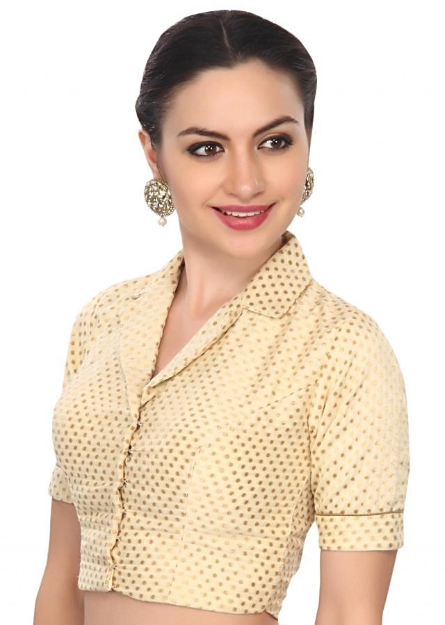Classy gold and off-white collared brocade blouse only on Kalki