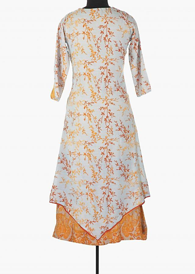 Clod grey and mustard double layer printed kurti with fancy tassel only on Kalki