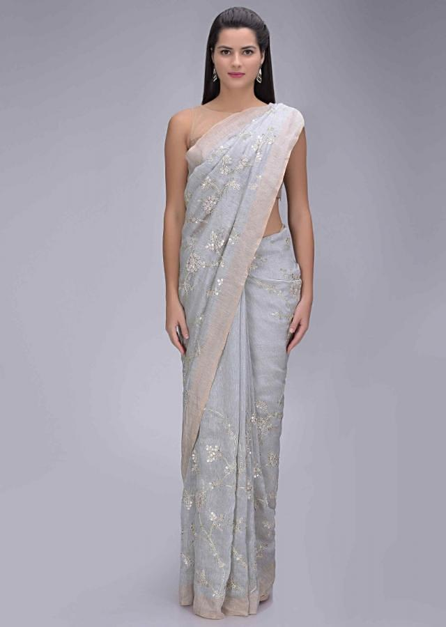 Cloud Grey Saree In Cotton Silk With Gotta Patch Floral Embroidery Work Online - Kalki Fashion