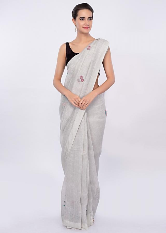 Cloud Grey Saree In Linen With Floral Embroidery And Butti Online - Kalki Fashion