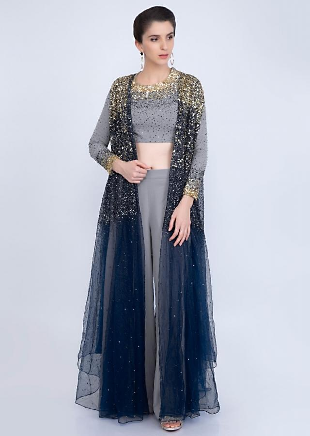 Cloud grey palazzo and crop top paired with a indigo blue net jacket  in two shade embroidered work  only on kalki