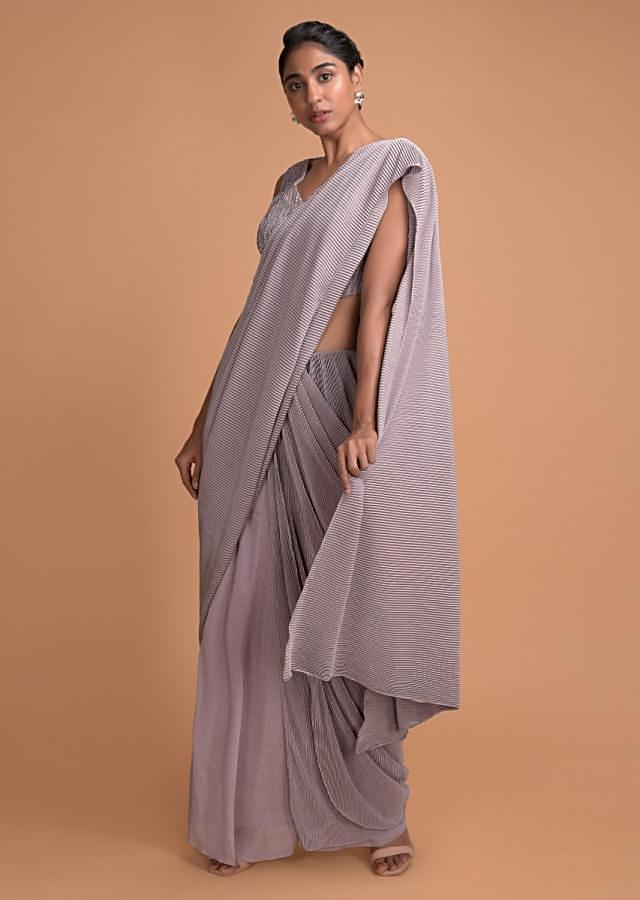 Dusty Pink Ready Pleated Saree In Shimmer Fabric With Embellished Blouse Online - Kalki Fashion