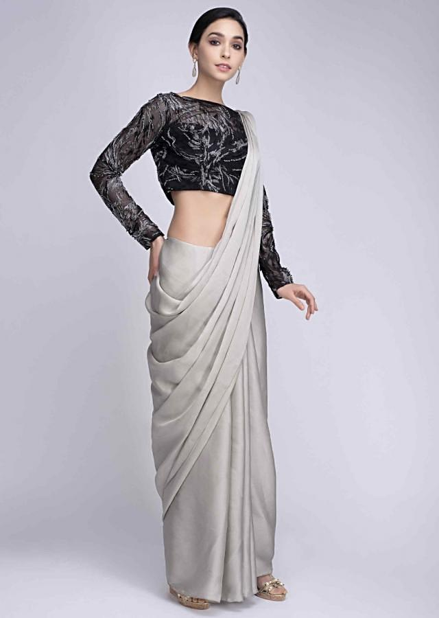Cloud Grey Saree In Satin Crepe With A Contrasting Black High Neck Blouse Online - Kalki Fashion