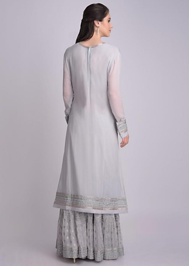 Cloud Grey Sharara Suit In Chiffon With Floral And Mughal Embroidery Work Online - Kalki Fashion