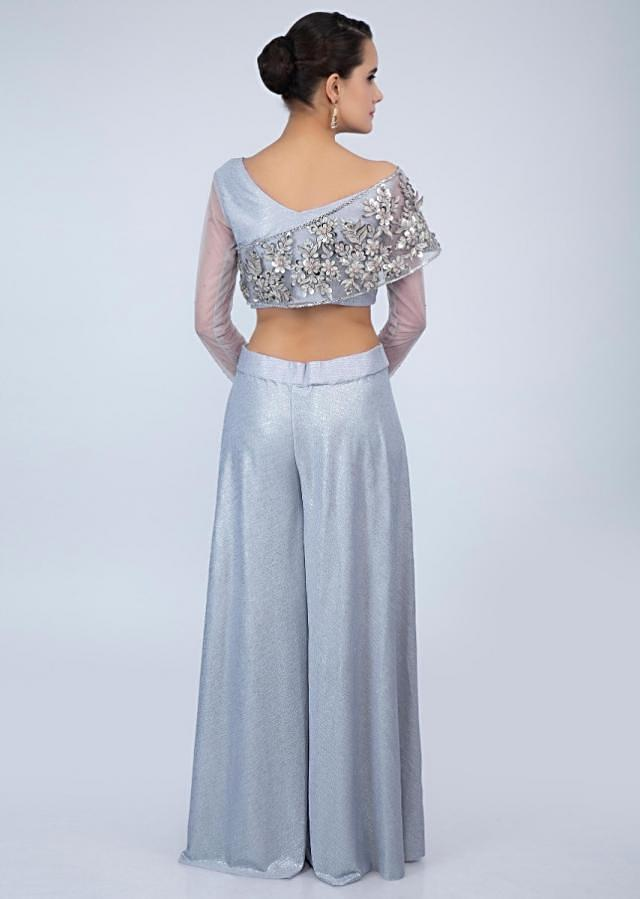 Cloud grey shimmer lycra fancy crop top-with flared palazzo and ready pleated dupatta only on Kalki