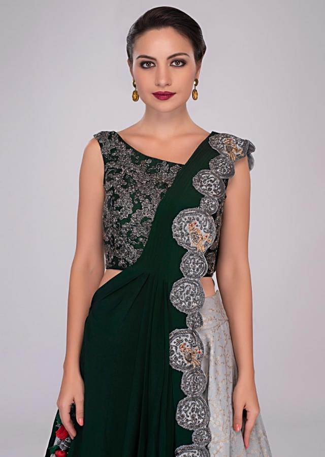 Cloud Grey Silk Skirt Paired With Rama Green Embroidered Blouse And Fancy Pre Stitched Dupatta Online - Kalki Fashion