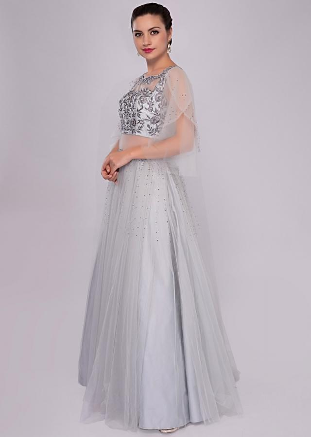 Cloud grey voluminous gown with self floral resham embroidered bodice only on Kalki