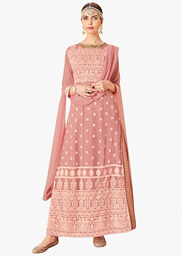 Cloud pink A line suit in georgette with thread and zardosi embroidery