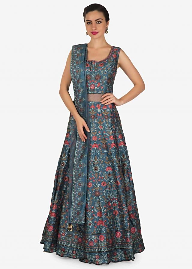 Cobalt blue anarkali suit adorn in digital print and kundan work in floral motif only on Kalki