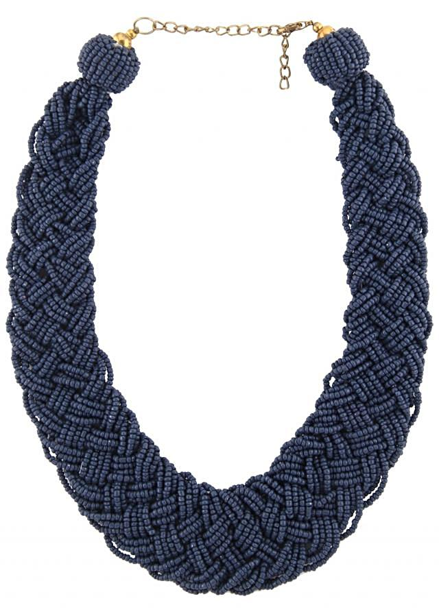 Cobalt blue necklace embellished in moti embroidery only on Kalki