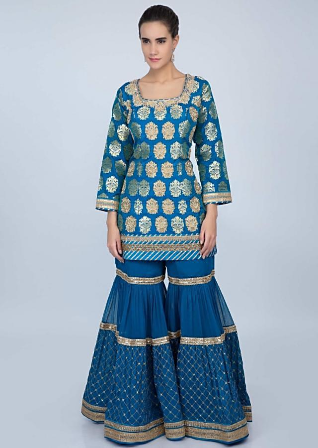 Cobalt blue sharara suit set with golden embroidery  only on kalki