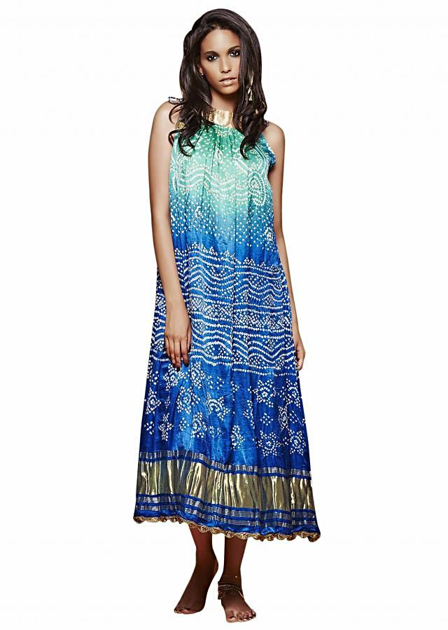 Cobalt green midi dress in bandhani tie up only on Kalki