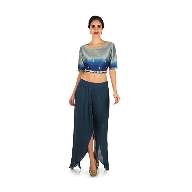 Cobalt blue dhoti suit enhanced in zardosi embroidered work only on Kalki