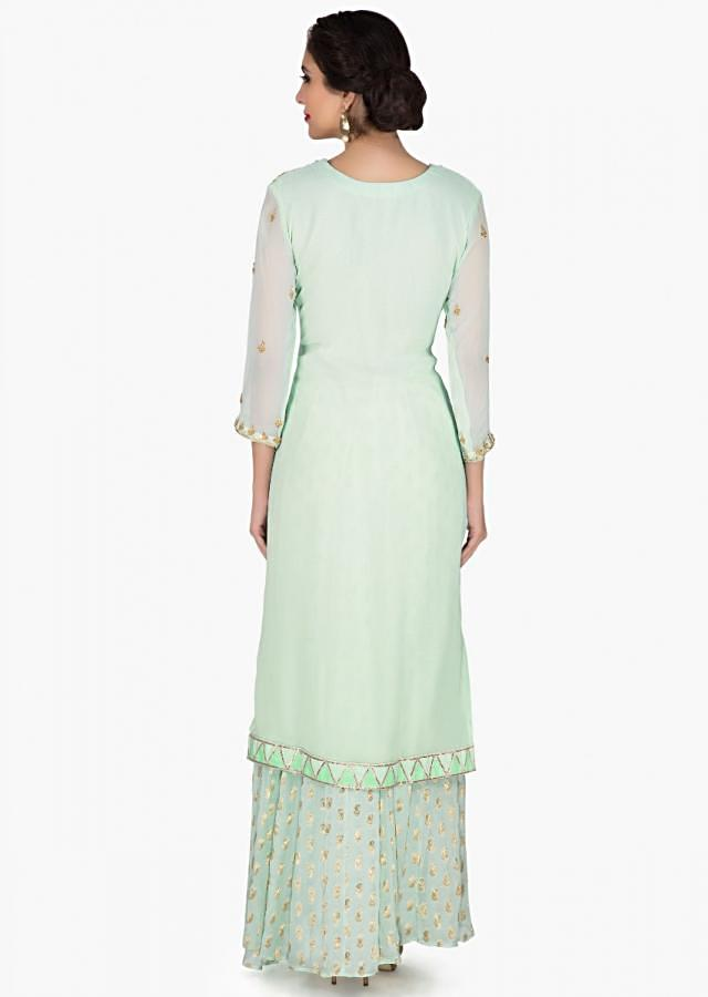 Sea Green Palazzo Suit In Georgette With Embroidered Neckline And Butti All Over Online - Kalki Fashion