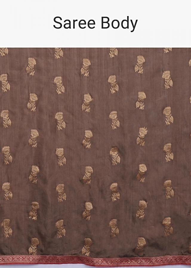 Coffee Brown Saree In Cotton Silk With Weaved Floral Buttis All Over Online - Kalki Fashion