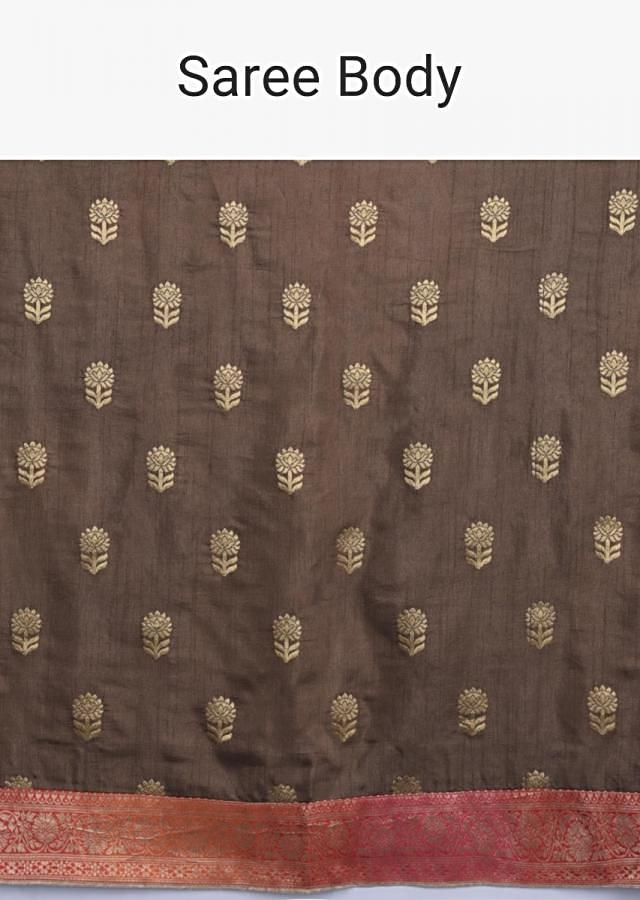 Coffee Brown Saree With Weaved Buttis And Shaded Weaved Border Online - Kalki Fashion