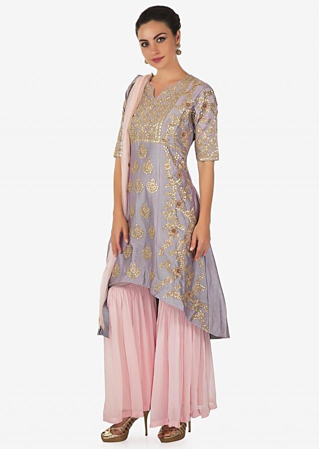 Coin grey A line sharara suit adorn in gotta patch and zari embroidery only on Kalki