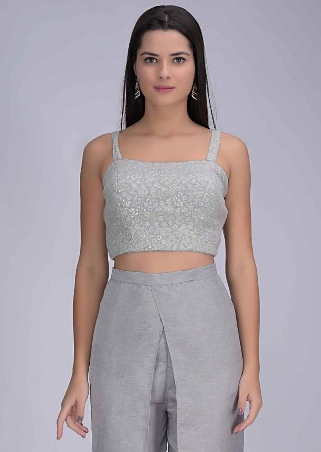 Coin Grey Crop Top And Jacket In Embroidered Chiffon With Tulip Pants Online - Kalki Fashion
