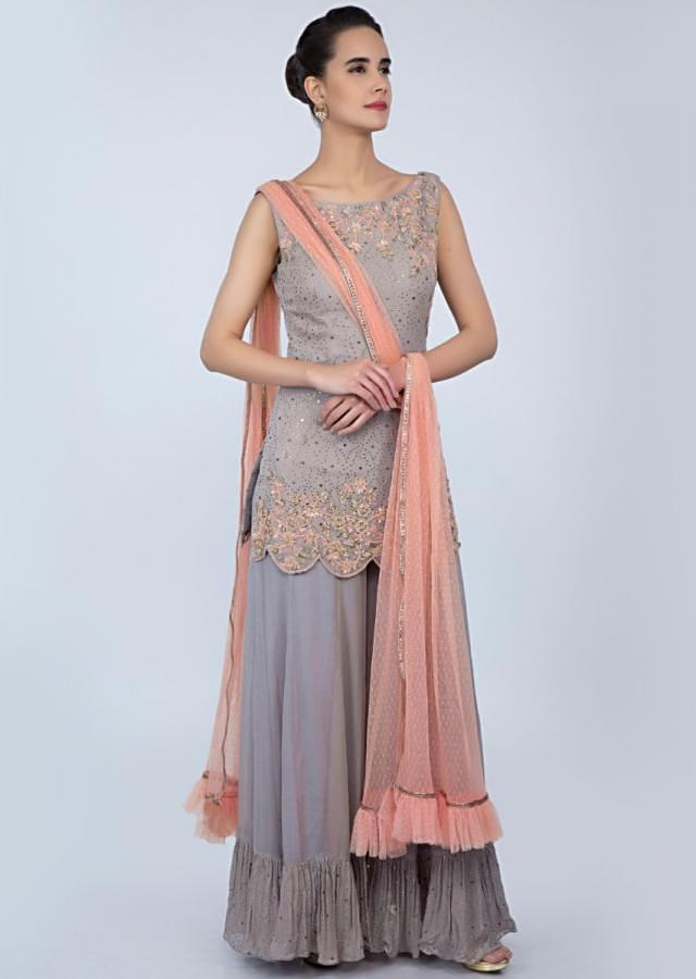Coin grey georgette palazzo suit set with peach net dupatta only on Kalki