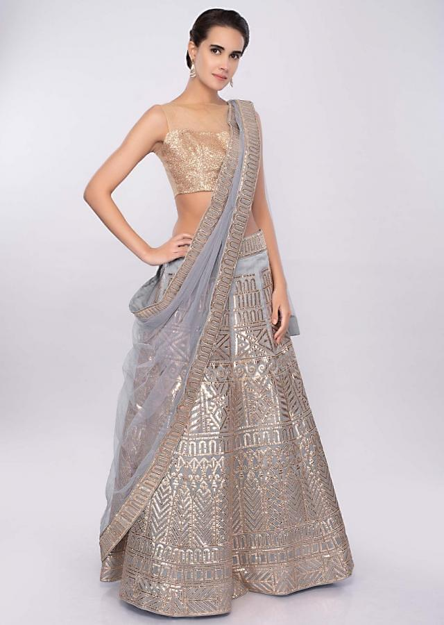 Coin grey organza lehenga set with gotta patch embroidery only on Kalki