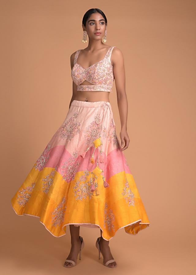 Color Blocked 3/4Th Lehenga In Peach, Pink, Yellow And Embellished Crop Top Online - Kalki Fashion