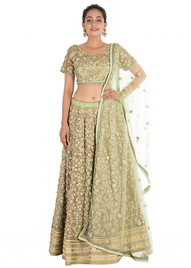Complete Hand Embroidered Pistachio Green Heavy Lehenga Set