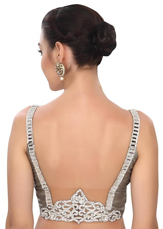 Contemporary silver stone studded blouse only on Kalki