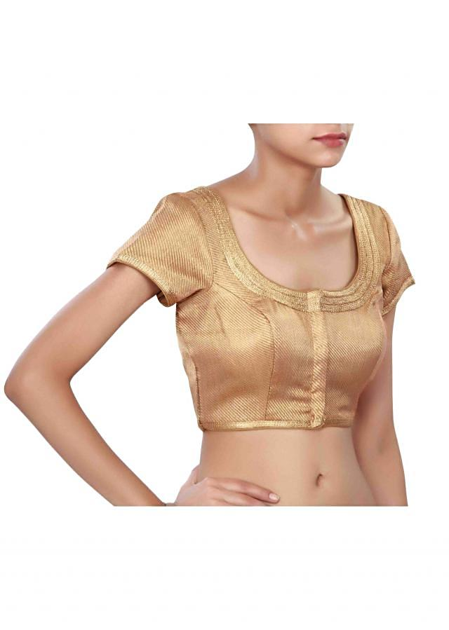 Copper blouse highlighted in zari lace only on Kalki