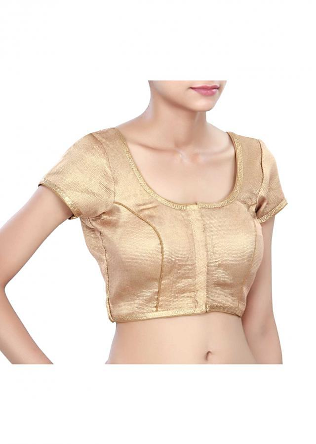 Copper gold blouse enhanced in zari lace only on Kalki