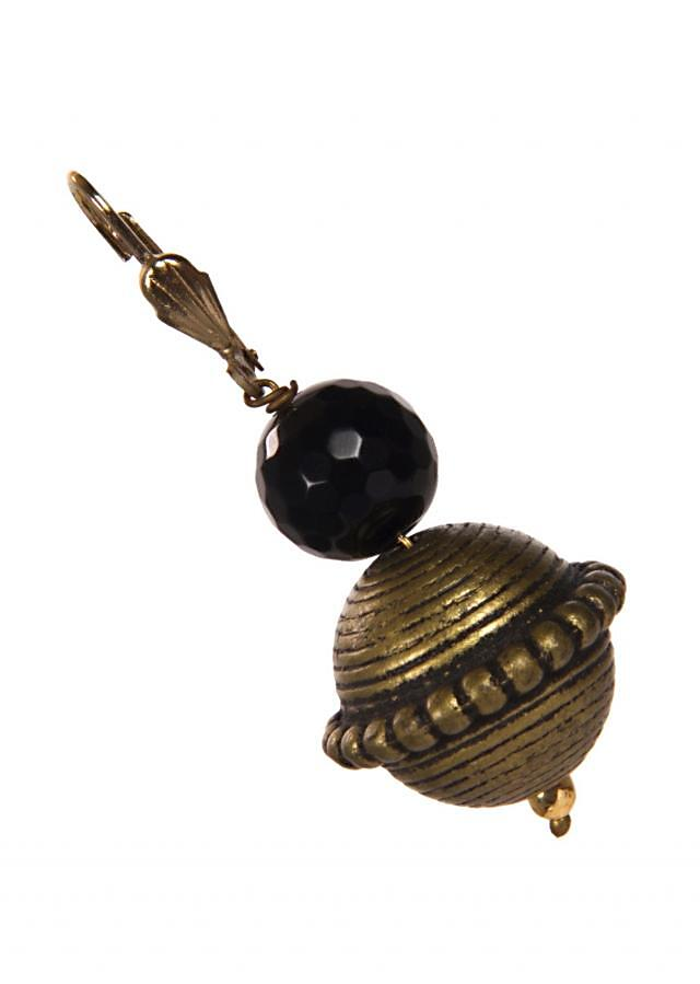 Copper Earring Adorn With Black Stones only on Kalki
