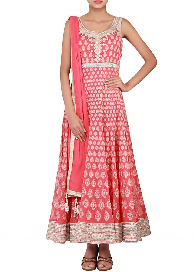 Coral anarkali embellished in resham and zari only on Kalki