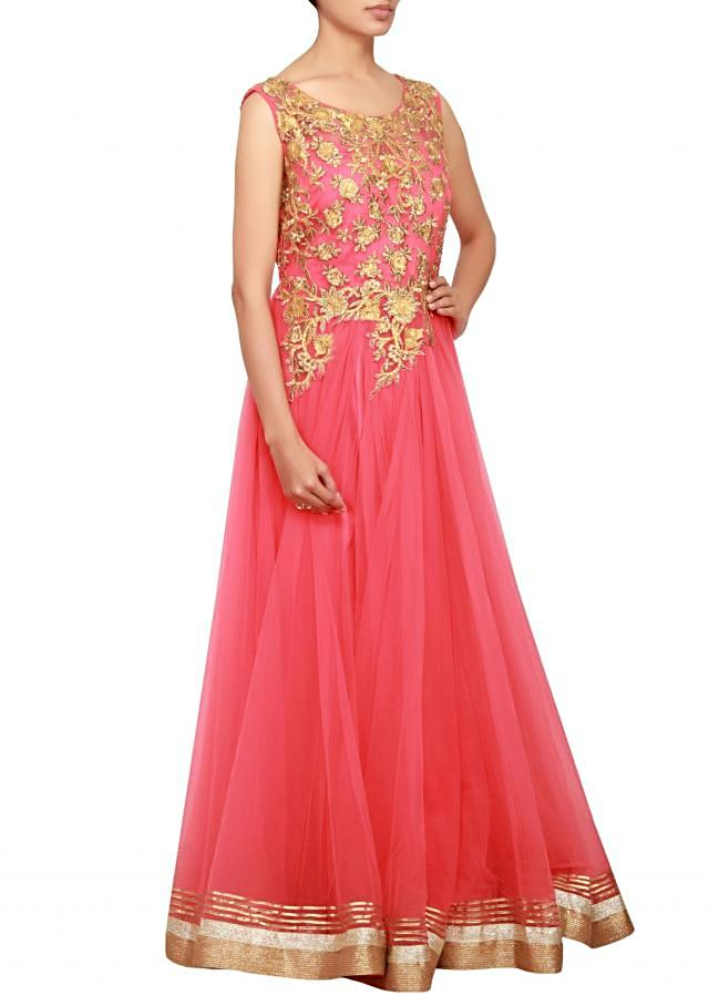 Coral anarkali in net embellished in zari and gotta patti work only on Kalki