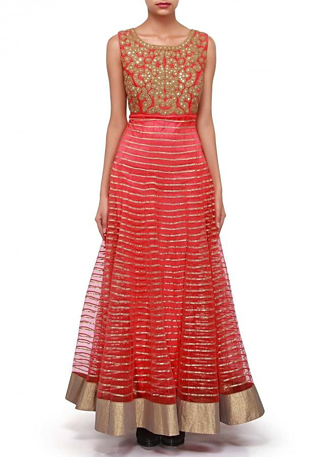 Coral anarkali suit adorn in gotta patti embroidery only on Kalki