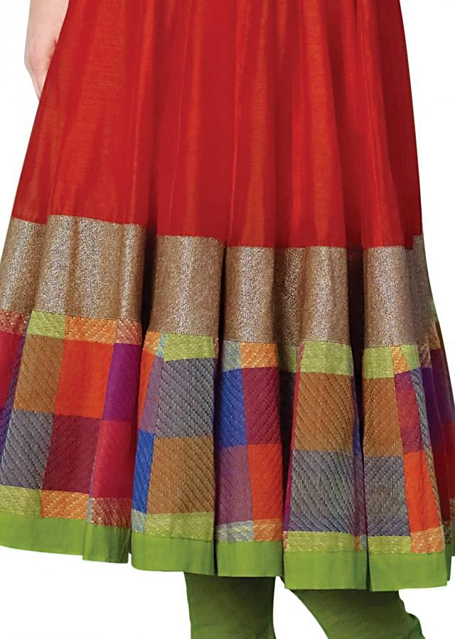 Coral anarkali suit adorn in resham embroidery
