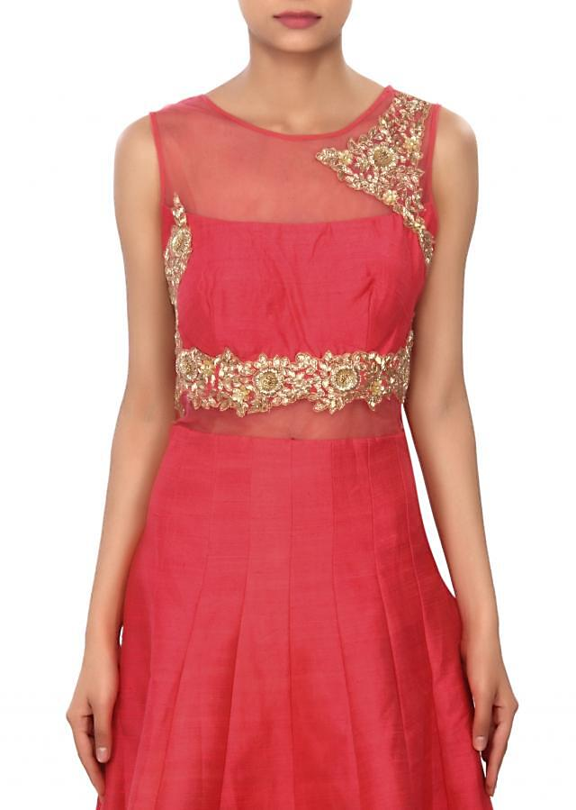 Coral anarkali suit adorn in zardosi and sequin embroidery only on Kalki