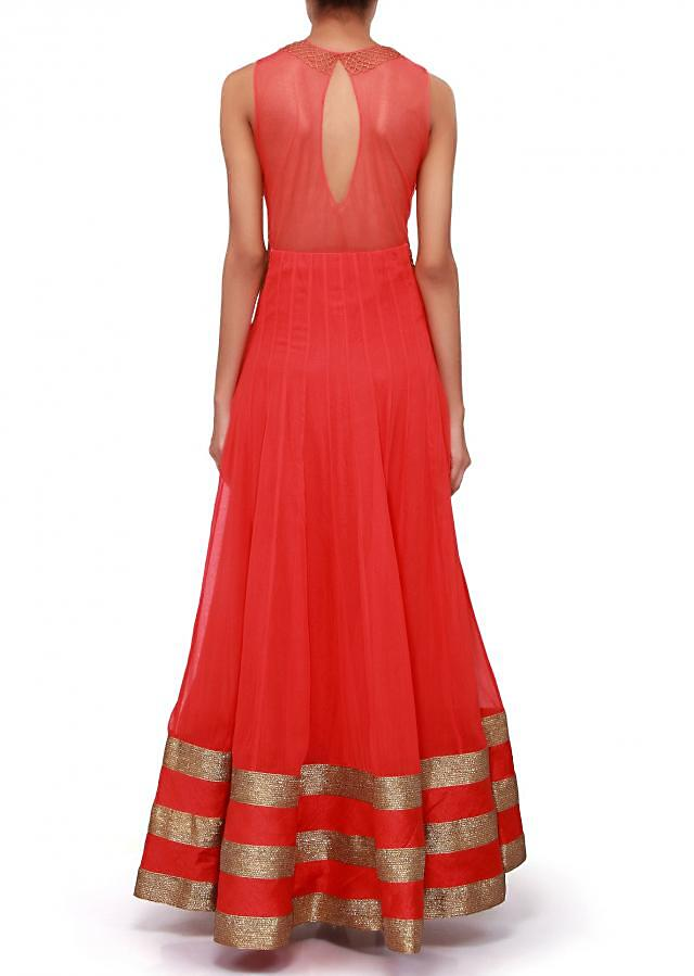 Coral anarkali suit adorn in zari embroidery only on Kalki