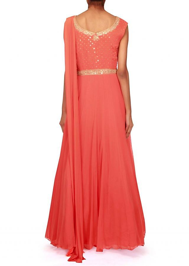 Coral anarkali suit embellished in sequin and fancy drape only on Kalki