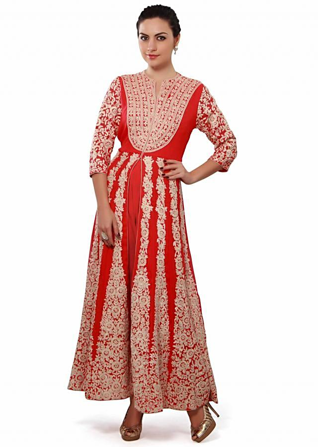 Coral anarkali suit enhanced in thread embroidery only on Kalki
