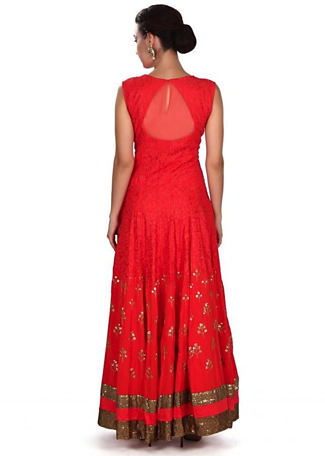 Coral anarkali suit in thread and zardosi embroidery only on Kalki