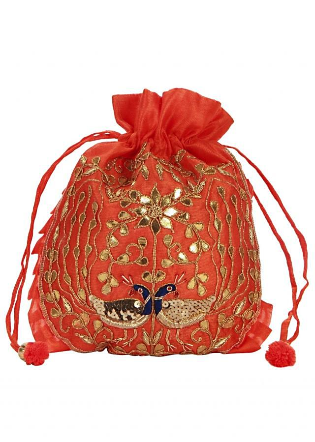 Coral and Gold Dori peacock Embroidered Potli Bag only on Kalki