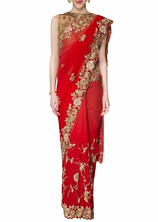 Coral and peach georgette saree with moti kundan work only on Kalki