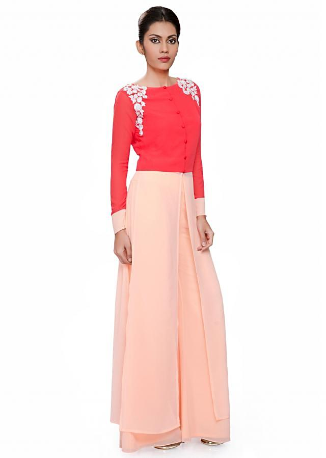 Coral and peach tunic with white embroidered armhole