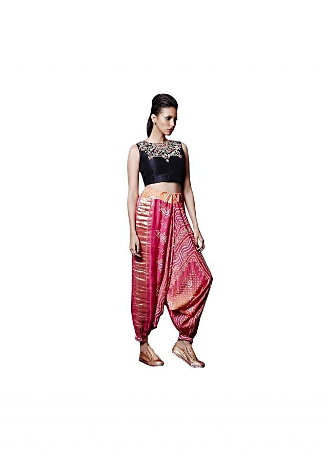 Coral and pink cowl pant with black crop top only on Kalki
