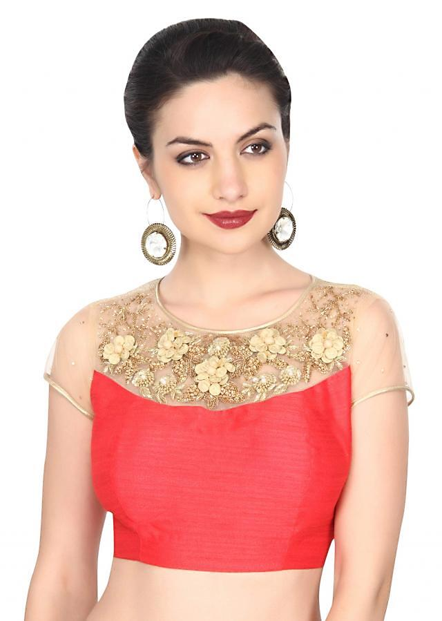 Coral blouse featuring in 3D flower embroidered yoke only on Kalki