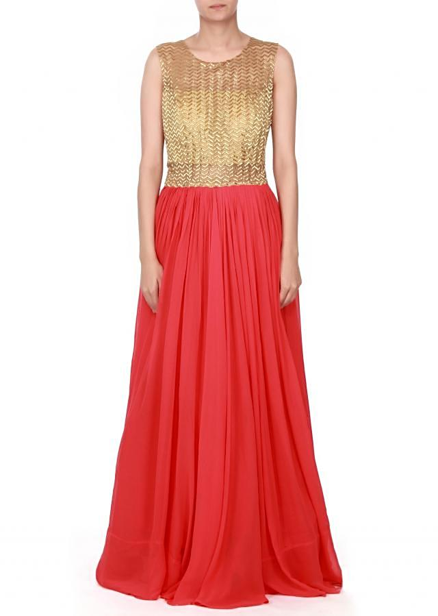 Coral dress adorn in kardana embroidery only on kalki