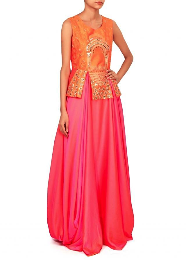 Coral dress with peplum embroidered bodice only on Kalki